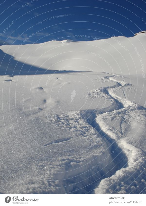 What a day Deep snow Snow track Snow crystal Snow cornice Mountain ridge Ski tour Winter Blue sky Powder snow Curve Undulation Deserted Exterior shot Snow layer