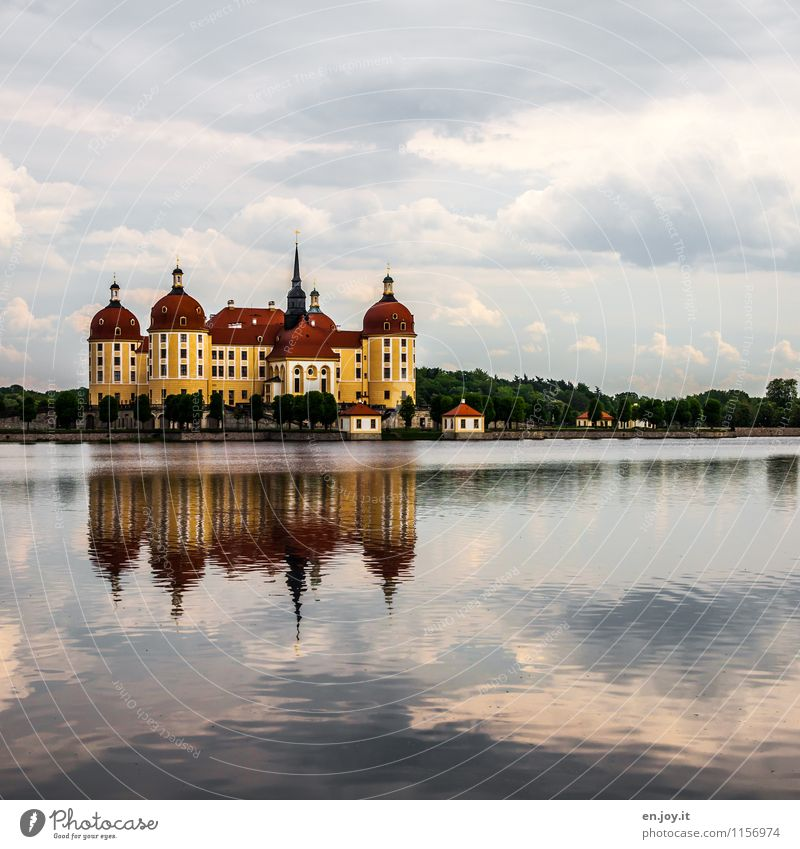 hunting lodge Vacation & Travel Tourism Trip Sightseeing Summer Summer vacation Environment Landscape Sky Clouds Tree Lake Moritzburg Meissen Saxony Germany