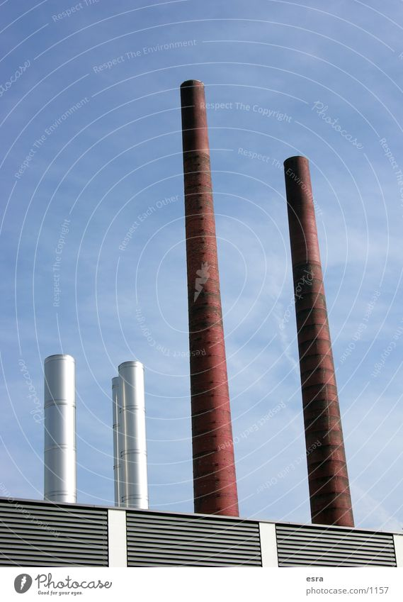 The four Environment Environmental pollution Air Factory Industry Chimney Dirty air pollution Sky Metal Architecture