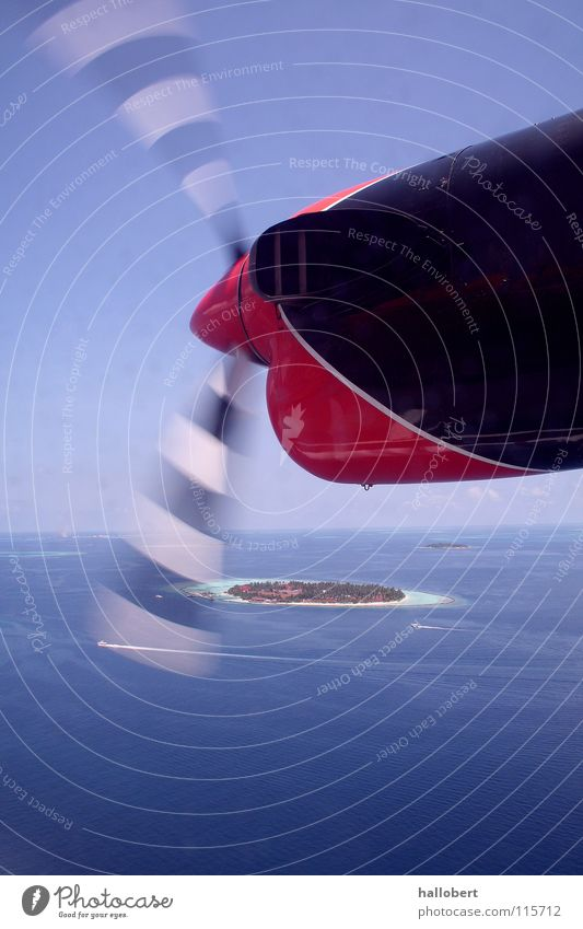 Sky Ocean Vacation & Travel Clouds Airplane Aviation Island Maldives Engines Propeller Dream island Above the clouds