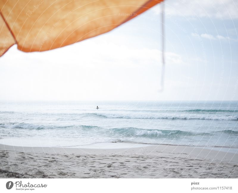 Human being Sky Vacation & Travel Blue Summer Water Sun Relaxation Ocean Joy Beach Yellow Warmth Coast Swimming & Bathing Sand