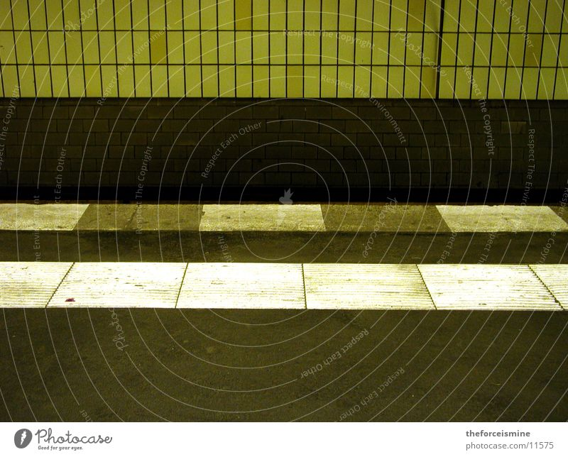 subway platform Underground Platform Dirty Wall (building) Architecture Tile stripe pattern Floor covering