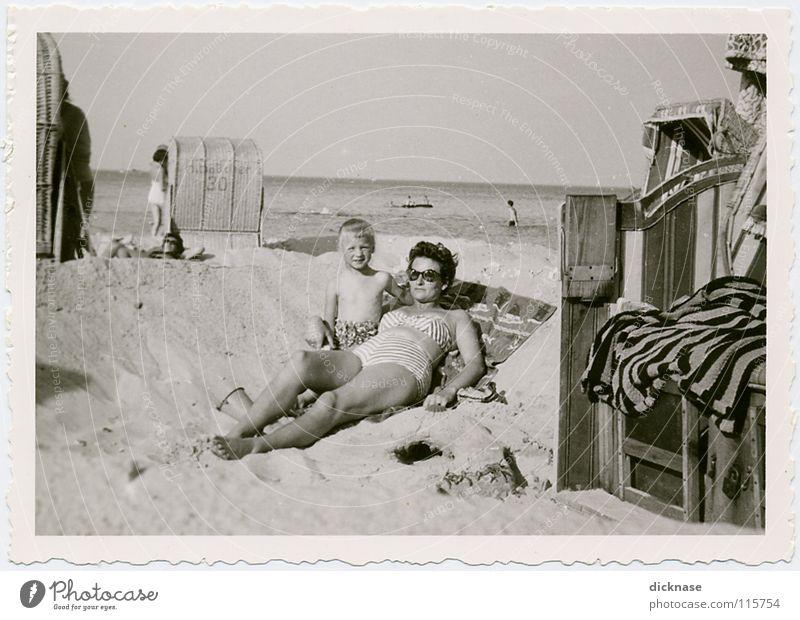 Girl Ocean Summer Joy Beach Vacation & Travel Relaxation Playing Sand Poel Island Vantage point Stripe Loudspeaker Beach dune Baltic Sea Sunglasses