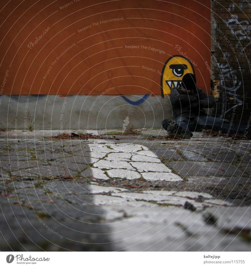 Man Face Wall (building) Graffiti Wall (barrier) Legs Feet Art Lie Teeth Jeans To feed Parking lot Muzzle Monster Alexanderplatz