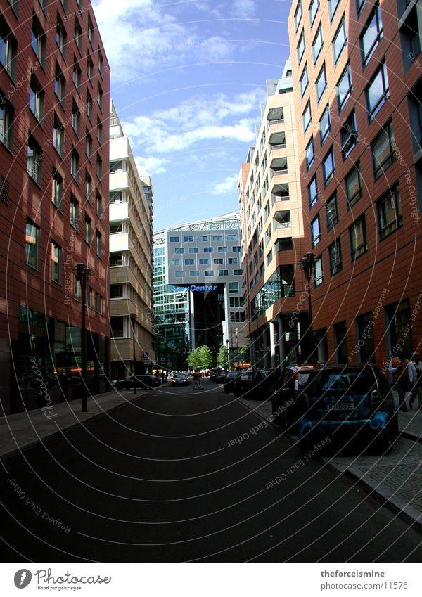 Human being Street Berlin Architecture Transport Blue sky Sony Center Berlin Potsdamer Platz