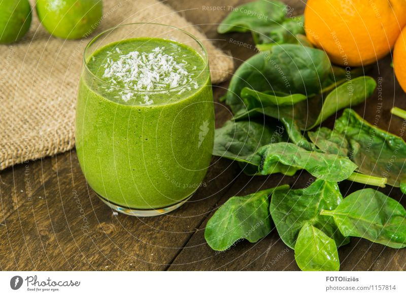 green smoothie Food Vegetable Lettuce Salad Fruit Spinach Spinach leaf Coconut Orange Lime Organic produce Vegetarian diet Diet Fasting Milkshake Beverage