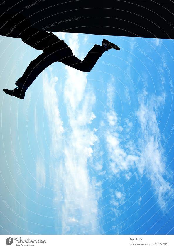 skywalker Man Kick about Fidget Jogging Flexible Gymnast Gymnastics Clouds Bad weather Sky blue Heavenly Black Shadow Silhouette Dark Splits Jump Straddle