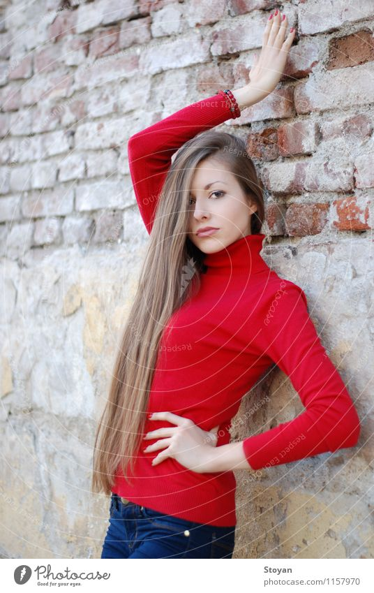 stylish girl / model on wall with red sweater Lifestyle Style Beautiful Young woman Youth (Young adults) Hair and hairstyles 1 Human being 18 - 30 years Adults