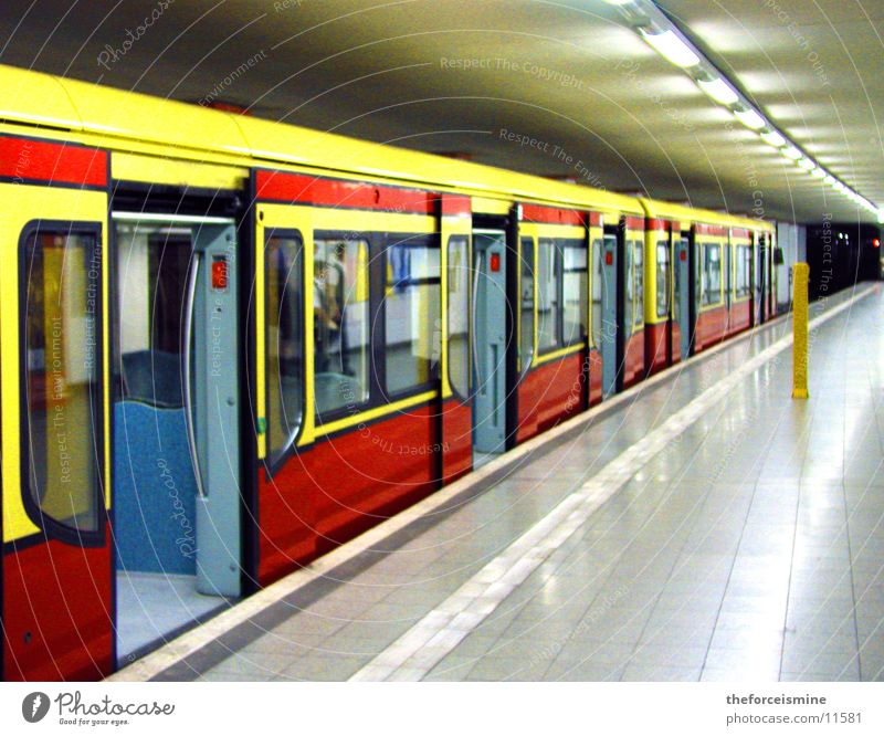 S-Bahn Berlin Commuter trains Underground Railroad car Multicoloured Gray Deserted Sliding door Platform Train station