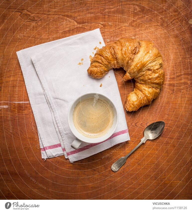 Breakfast with coffee and croissant Food Dough Baked goods Croissant Dessert Nutrition Beverage Coffee Espresso Cup Spoon Style Design Life Table Vintage Café