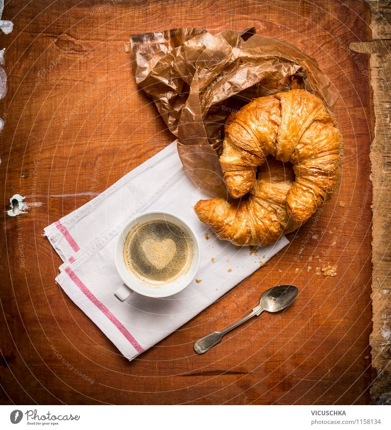 Coffee and croissant rustic Food Croissant Dessert Nutrition Breakfast Beverage Espresso Cup Spoon Style Design Life Table Kitchen Sign Heart Love Moody Joy
