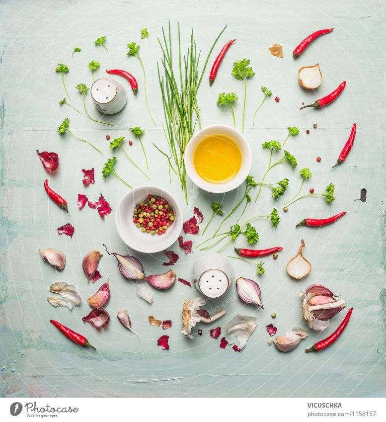 Oil, fresh herbs and spices Food Herbs and spices Cooking oil Nutrition Organic produce Vegetarian diet Diet Asian Food Style Design Healthy Eating Life Kitchen