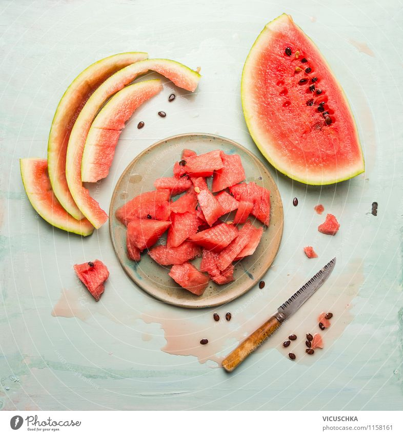 Summer taste - Watermelon Food Fruit Dessert Nutrition Organic produce Vegetarian diet Diet Juice Crockery Plate Knives Appetite Thirst Design Style Top Gourmet