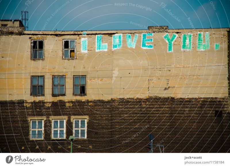 I love you. Write it on every wall Typography Street art Cloudless sky Friedrichshain House (Residential Structure) Facade Window Word Infatuation Creativity