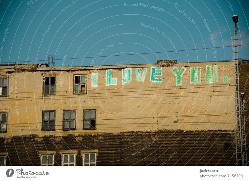 I love you. Write it on every wall 2.0 Typography Street art Cloudless sky Friedrichshain House (Residential Structure) Facade Window Positive Infatuation