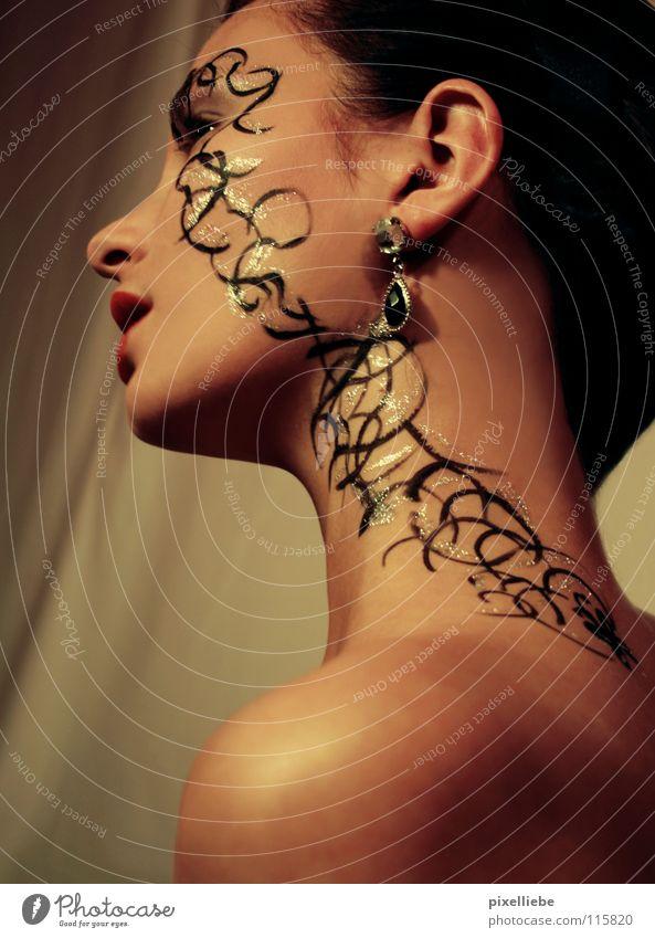 Woman Beautiful Cosmetics Adults Face Feminine Style Gold Glittering Elegant Skin Thin Tattoo Lady Jewellery