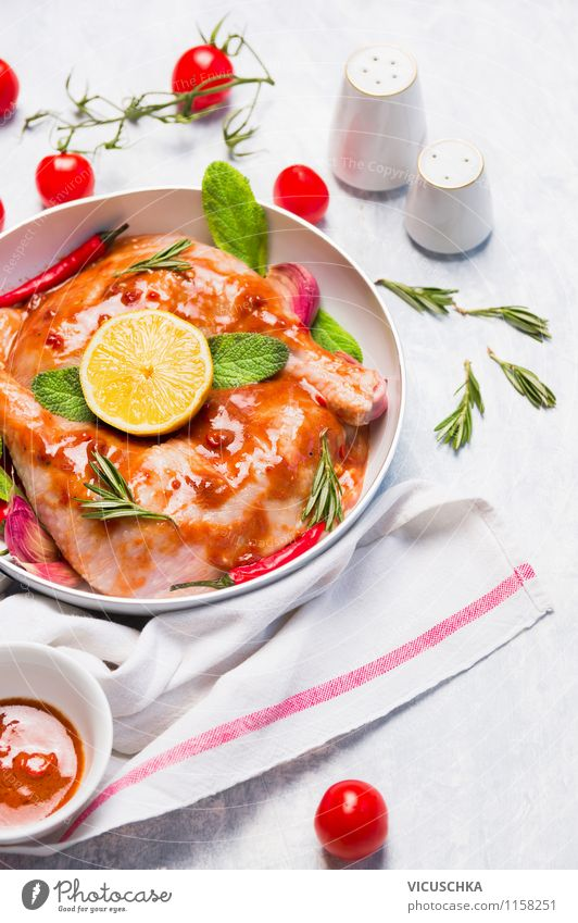 Chicken with tomatoes, lemon and sage Food Fish Vegetable Herbs and spices Cooking oil Nutrition Lunch Dinner Banquet Organic produce Diet Plate Bowl Pot Style