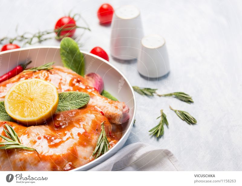 Preparing chicken legs for oven Food Meat Vegetable Herbs and spices Cooking oil Nutrition Lunch Dinner Organic produce Diet Crockery Pan Style Design