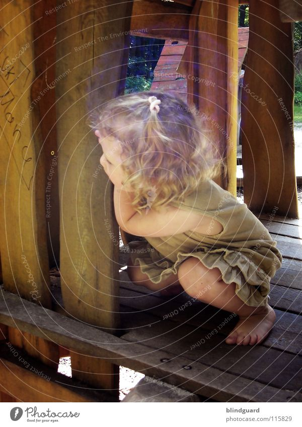 Child Girl Joy Summer Face Playing Garden Wood Hair and hairstyles Lanes & trails Warmth Legs Feet Bright Blonde Arm
