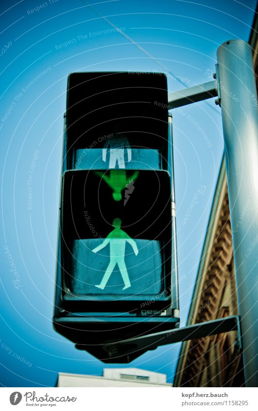 You may go. Transport Road traffic Pedestrian Traffic light Sign Movement Going Stand Good Positive Town Green Optimism Success Power Willpower Brave Trust