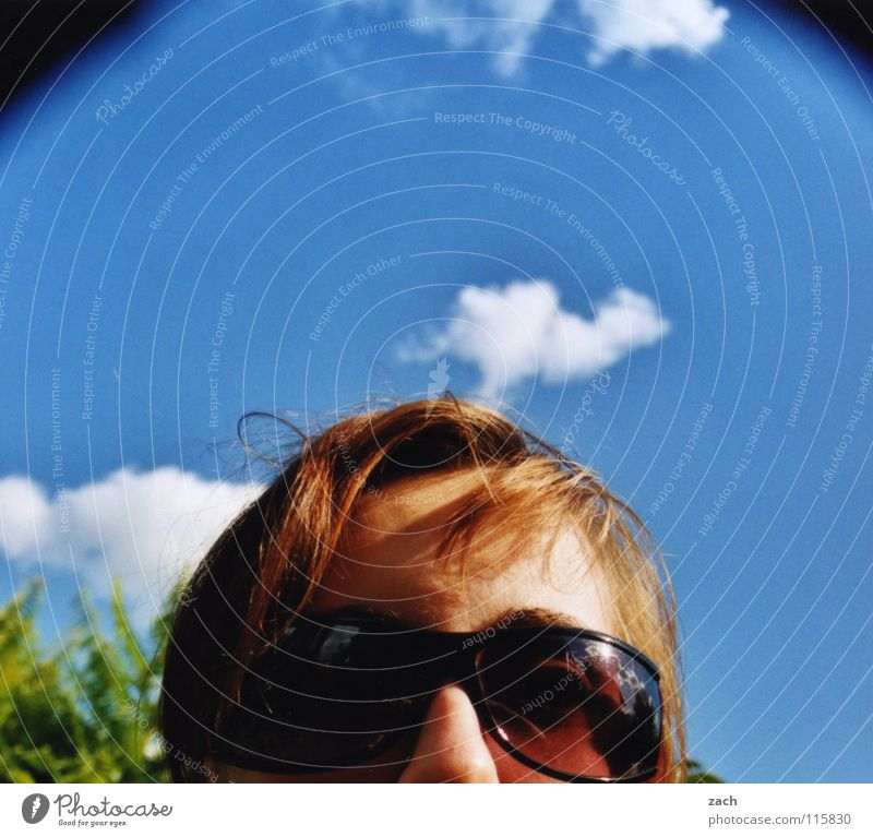 I hate to... Sunglasses Eyeglasses Portrait photograph Clouds Summer Woman Feminine Physics Joy Face Warmth Sky Blue