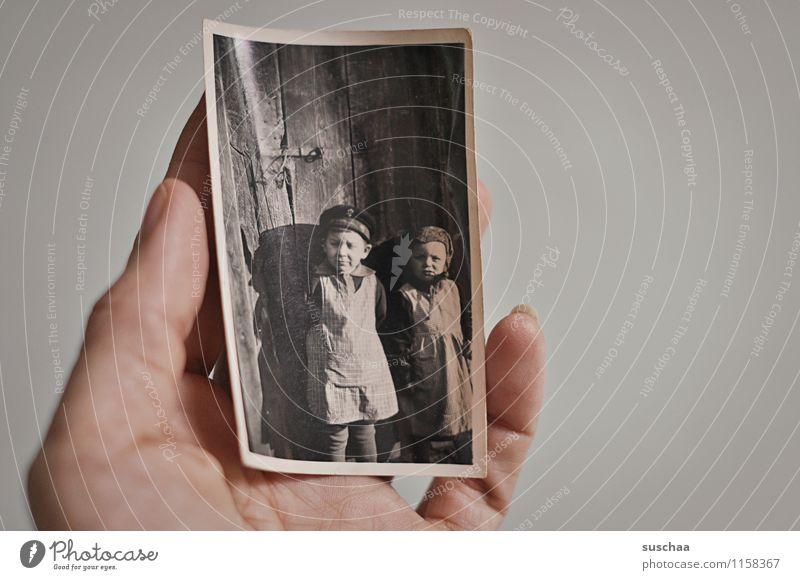 old photo Photography Analog Old Black & white photo Memory family album Hand Fingers Boy (child) Girl
