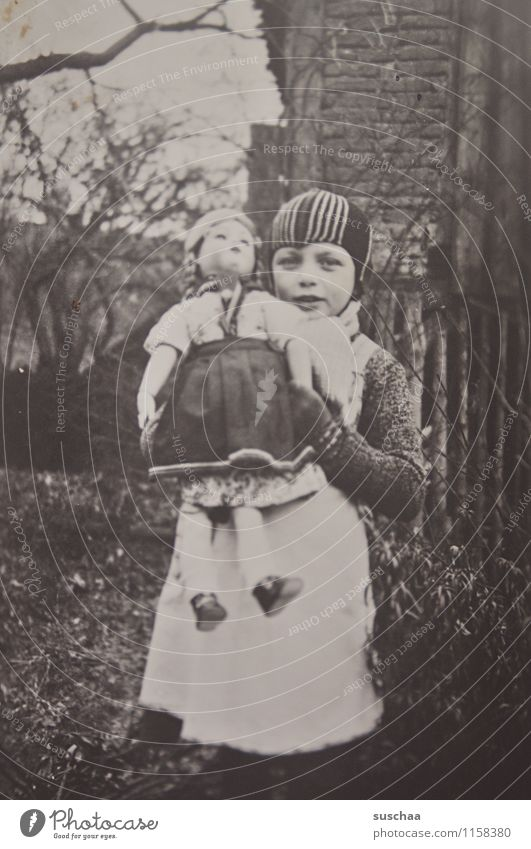gertrud and her doll Photography Old Analog Black & white photo pre-war period Girl Doll