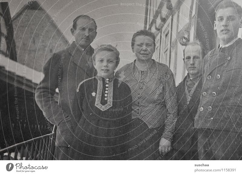 very old family photo Old Photography Black & white photo Analog family album Memory Second World War Human being Family & Relations Mother Father Child