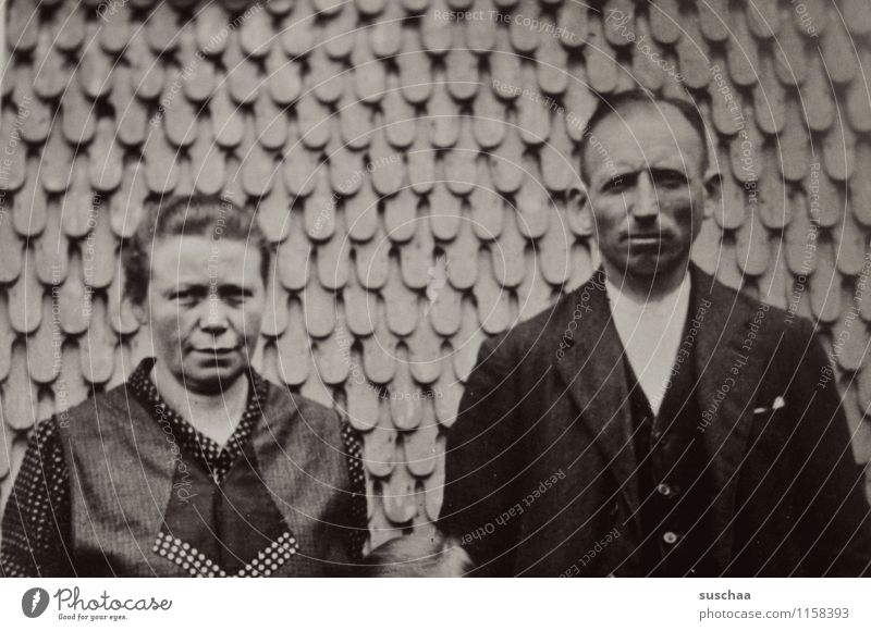 grandma bertha and grandpa gustaf Woman Man Old Photography Analog Wall (building) Memory family album