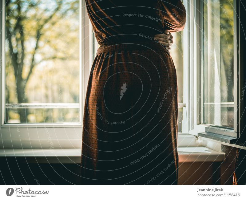 prospect Room Window Feminine Woman Adults Hand 1 Human being 30 - 45 years Nature Tree Park Dress Cloth Glass To hold on Looking Stand Thin Red Moody Calm