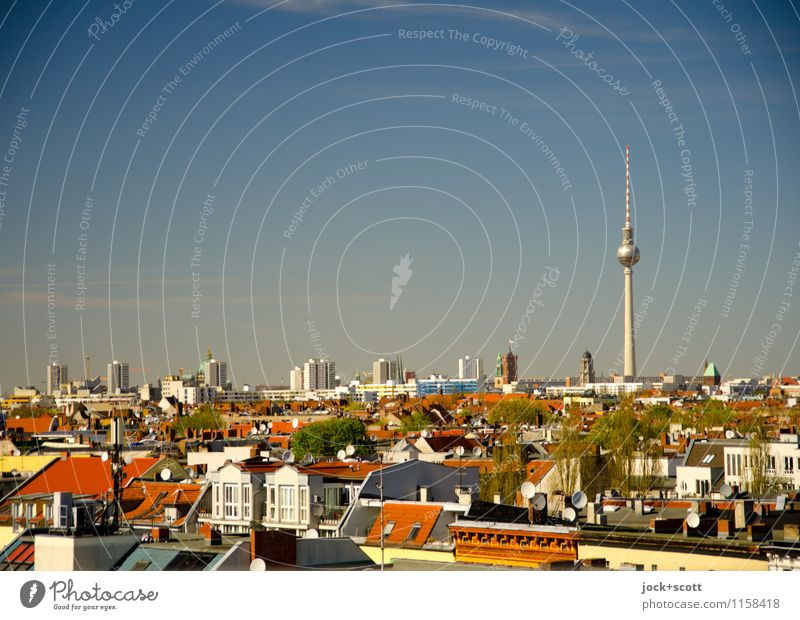 Postcard from Berlin Roof Spring Beautiful weather Neukölln Capital city Downtown Landmark Berlin TV Tower Far-off places Many Authentic Horizon Quarter Card