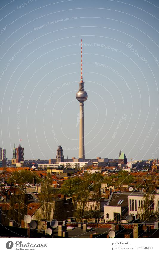 Cityscape Tower view Sightseeing City trip GDR Air Cloudless sky Spring Beautiful weather Neukölln Capital city Downtown House (Residential Structure)