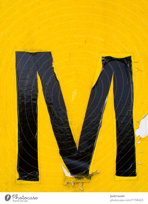 the yellow M Typography Packing film Signs and labeling Capital letter Authentic Simple Glittering Retro Yellow Truth Endurance Symmetry Transience Weathered