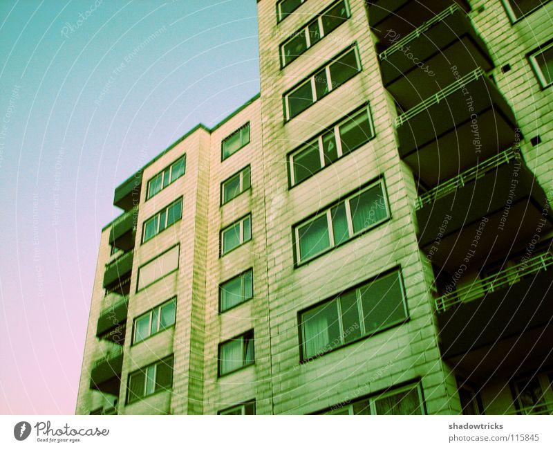 Sky White Colour Window Architecture Flat (apartment) Door Poverty Living or residing Balcony Story Cyan Block Prefab construction Cross processing Habitat