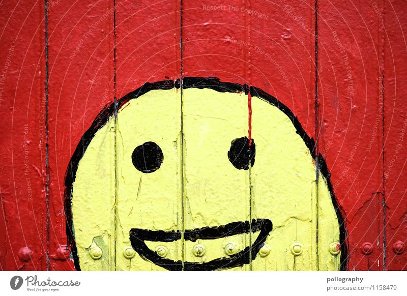Red Joy Face Yellow Wall (building) Emotions Graffiti Happy Laughter Moody Contentment Happiness Joie de vivre (Vitality) Sign Picturesque Facial expression