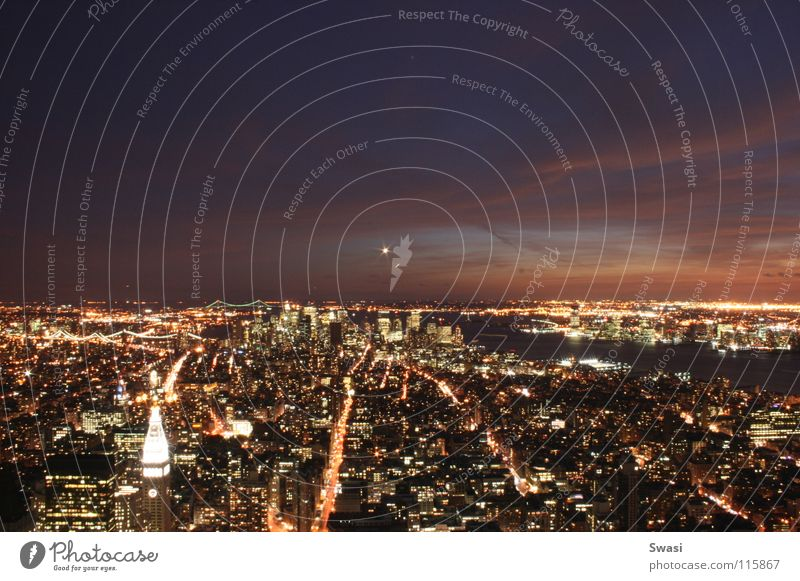 New York at night New York City Night Empire State building Light High-rise skyline Town