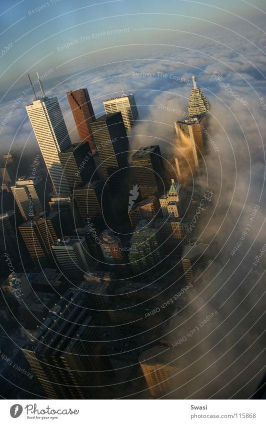 City Clouds Fog High-rise Skyline Canada Toronto CN Tower