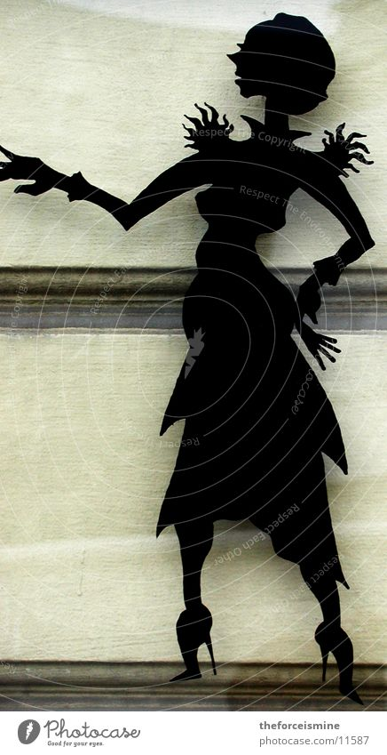 Silhouette Woman Feminine Wall (building) Wall (barrier) Classic Shadow play Photographic technology