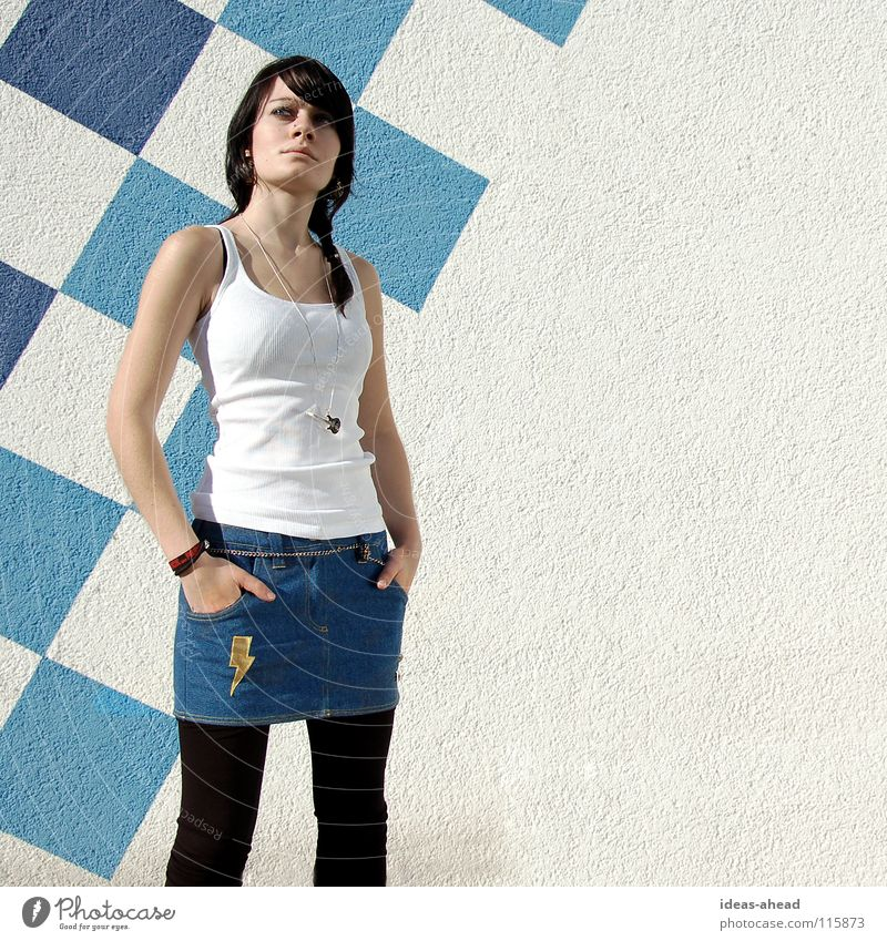 Woman Beautiful Blue Black Hair and hairstyles Art Crazy Cool (slang) Model Posture Lightning Guitar Chain Easygoing Hardcore