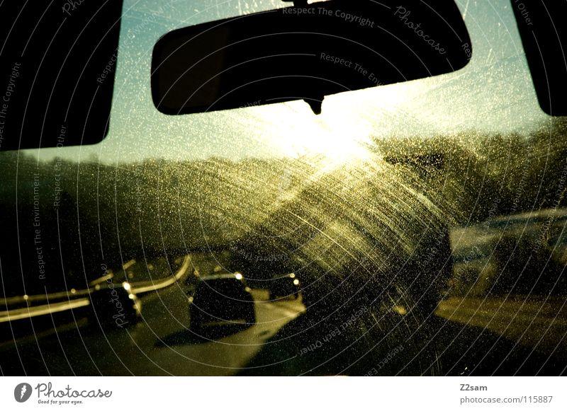 Sky Sun Vacation & Travel Street Car Glittering Concrete Transport Driving Highway Middle Window pane Downward Tar Flap Windscreen