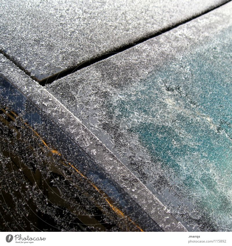 Sealed Winter Cold Cooling Surface Scratch Freeze Frozen White Turquoise Black Transience Frost Ice Window pane Glass Car Metal