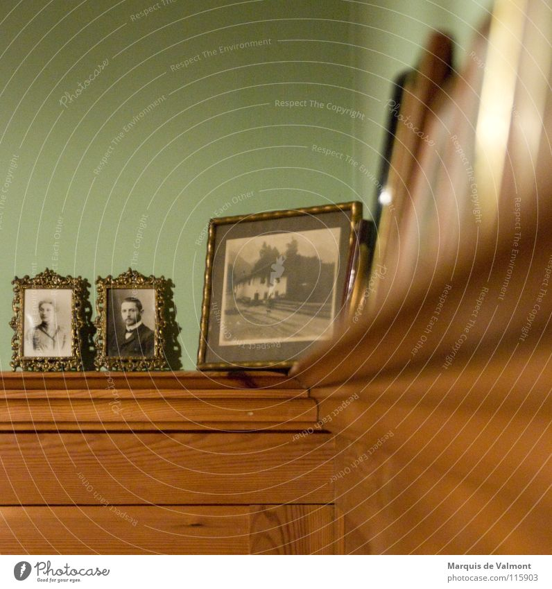 ancestral gallery Wood Old Historic Photography Picture frame Ancestors Cornice Wall panelling Wood panelling Memory Beaded Frame Colour photo Blur