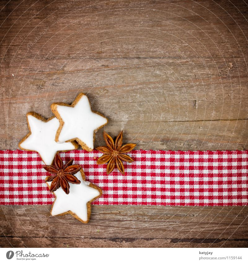Christmas & Advent Winter Wood Sweet Star (Symbol) Herbs and spices Seasons Card Candy Aromatic Wooden table Cookie December Christmas biscuit Credit Cinnamon