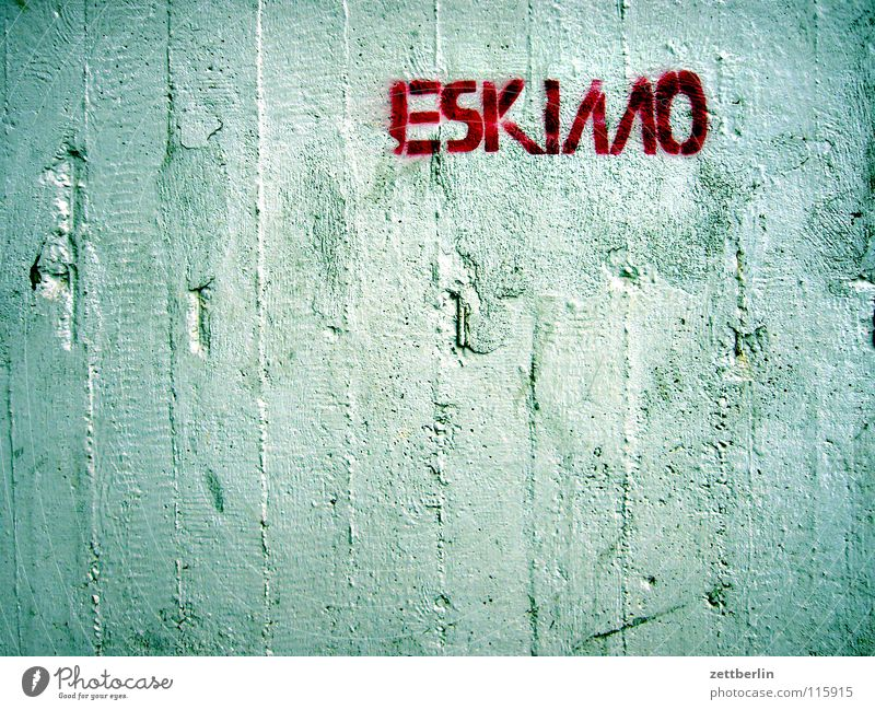 eskimo Concrete Wall (building) Lettering Word Letters (alphabet) Typography Characteristic Stencil Stencil letters Street art Vandalism To make dirty Inscribe