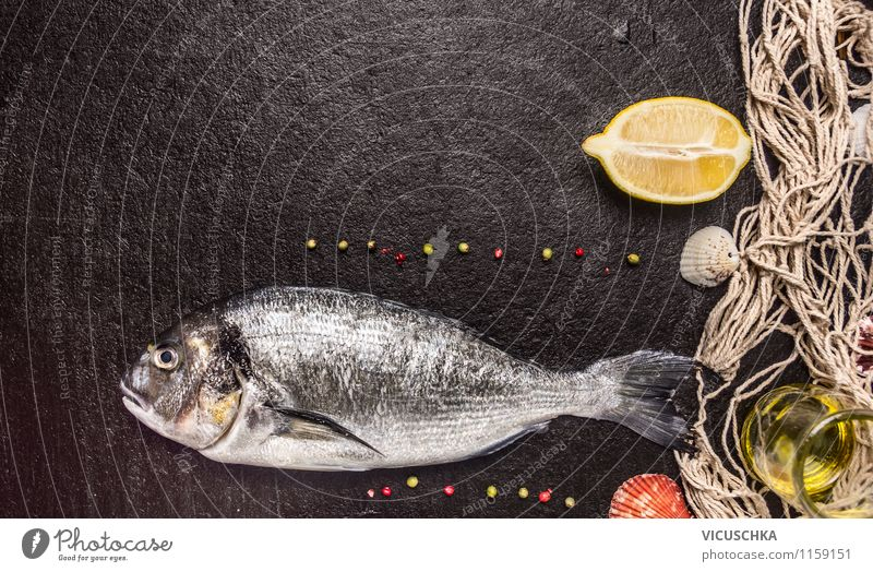 Healthy Eating Dark Style Background picture Food photograph Stone Design Nutrition Herbs and spices Fish Net Organic produce Dinner Diet
