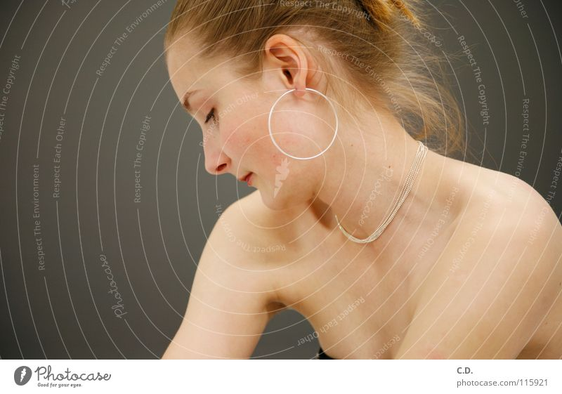 Shy? Woman Shoulder Silhouette Blonde Gray Progress Human being Face Arm Neck Profile Ear Earring Hair and hairstyles Chain Nose Skin