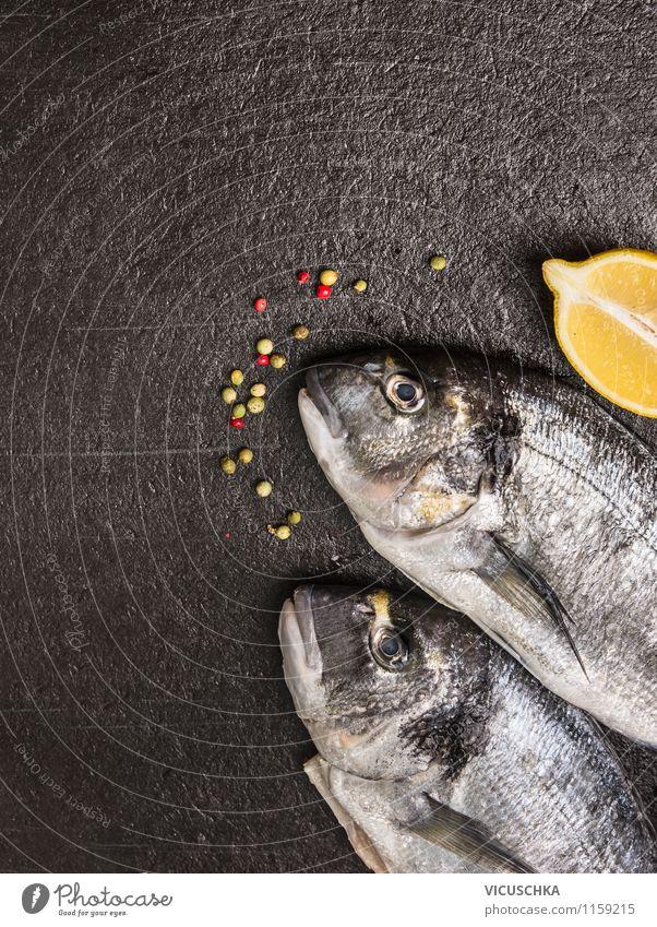Fish with lemon on dark background Food Nutrition Organic produce Vegetarian diet Diet Style Design Healthy Eating Nature Dorade Dorado Background picture
