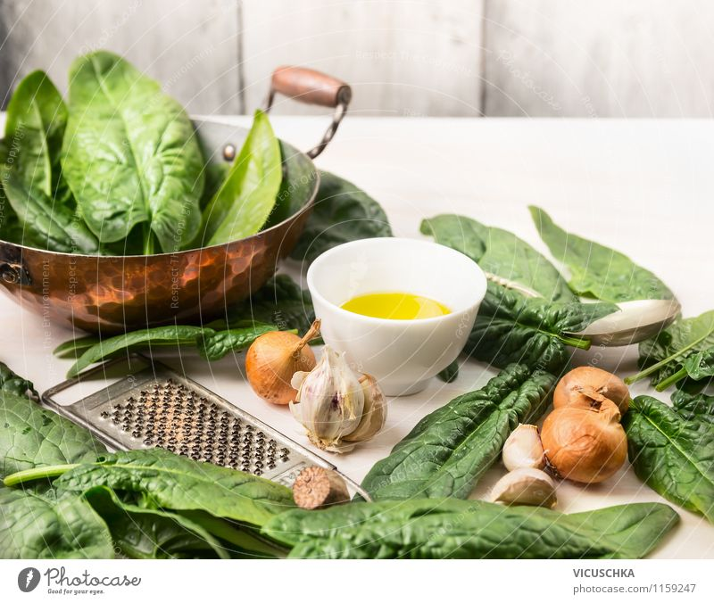 Rustic cuisine - spinach preparation Food Vegetable Lettuce Salad Herbs and spices Cooking oil Nutrition Lunch Dinner Organic produce Vegetarian diet Diet Style