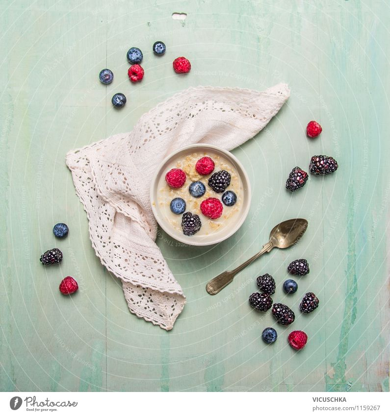 Oat flakes with summer berries Food Grain Nutrition Breakfast Organic produce Vegetarian diet Diet Milk Bowl Fork Style Design Healthy Eating Life Berries