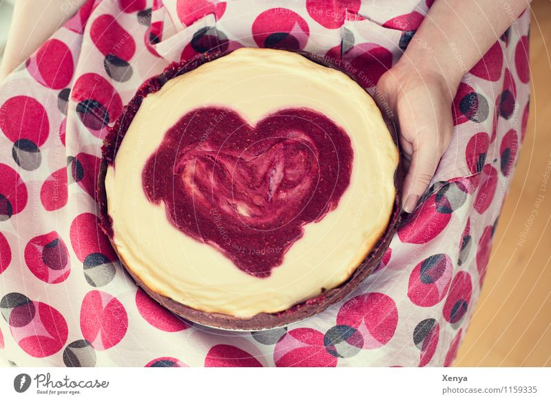 for you Cake Kitchen Feminine Woman Adults 1 Human being 18 - 30 years Youth (Young adults) Yellow Red Love Romance Heart Mother's Day Valentine's Day Donate